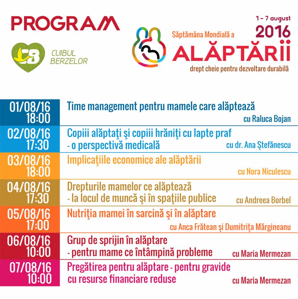 program Cuibul Berzelor pentru Saptamana Mondiala a Alaptarii 2016
